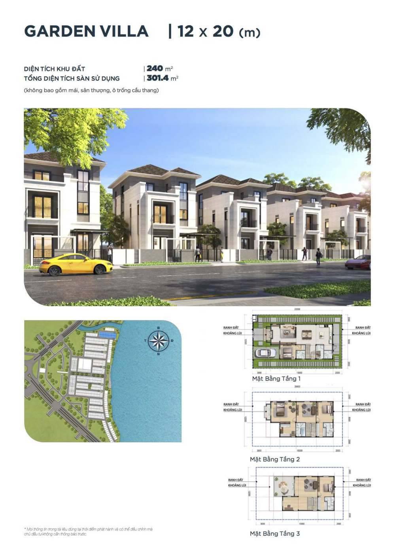 Mặt bằng thiết kế biệt thự đơn lập 12 x 20 Aqua City - GD3