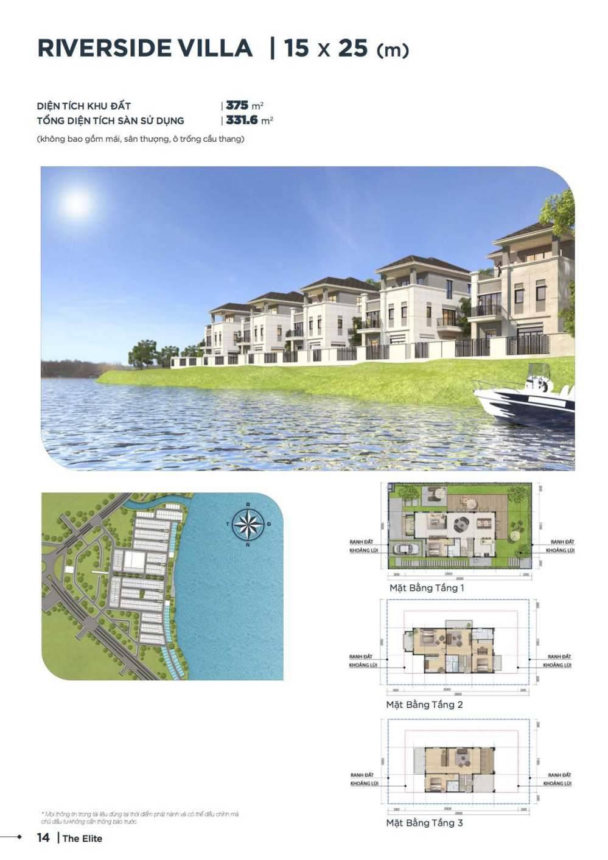 Mặt bằng thiết kế biệt thự đơn lập view sông 15 x 25 Aqua City - GD3