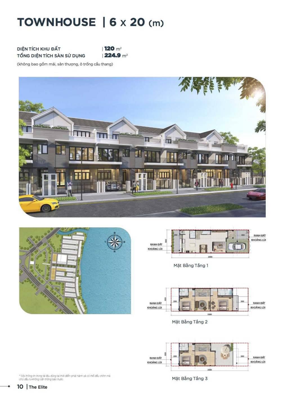 Mặt bằng thiết kế nhà phố 6 x 20 Aqua City - GD3
