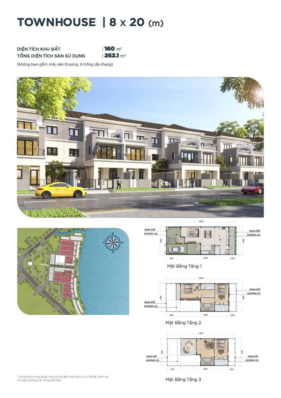 Mặt bằng thiết kế nhà phố 8 x 20 Aqua City - GD3