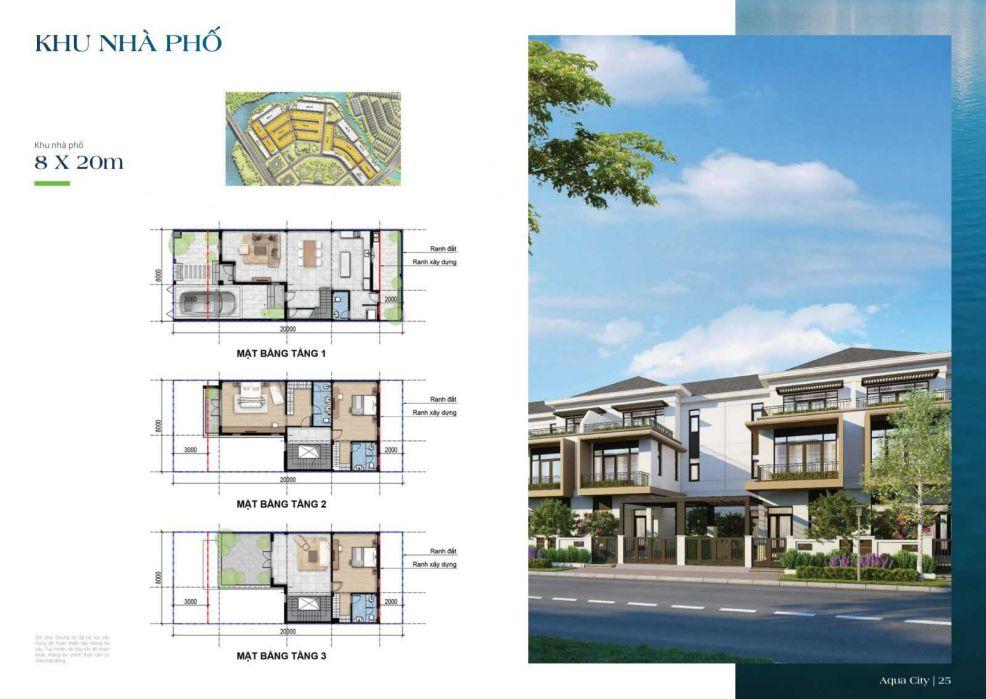 Mặt bằng thiết kế nhà phố Aqua City 8 x 20