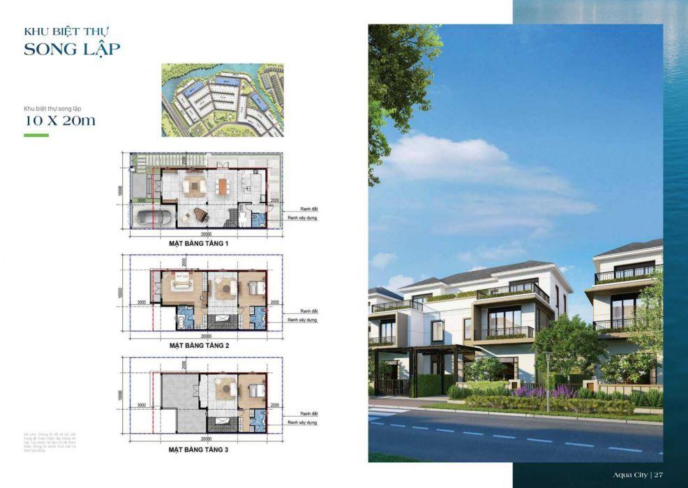 Mặt bằng thiết kế biệt thự song lập Aqua City 10 x 20