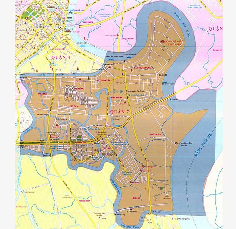 Chi bản đồ quy hoạch quận 7 chi tiết nhất, mới nhất hiện nay