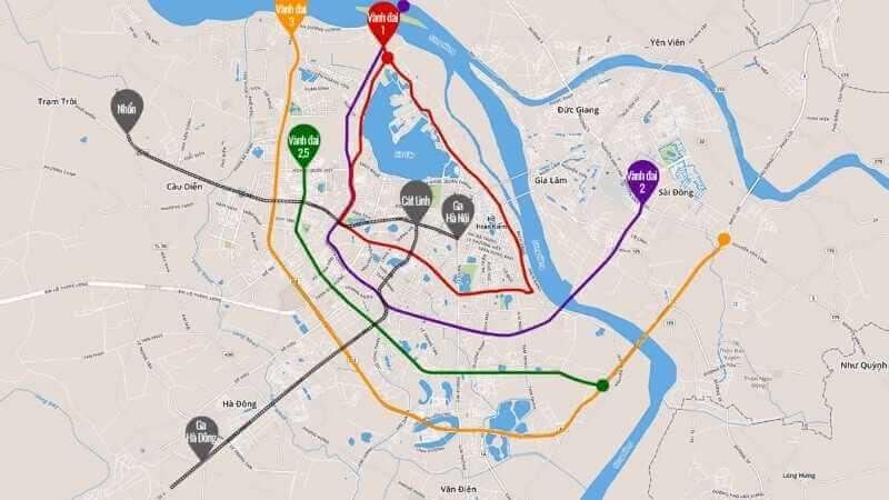 Bản đồ quy hoạch đường vành đai 2 tại Hà Nội mới nhất