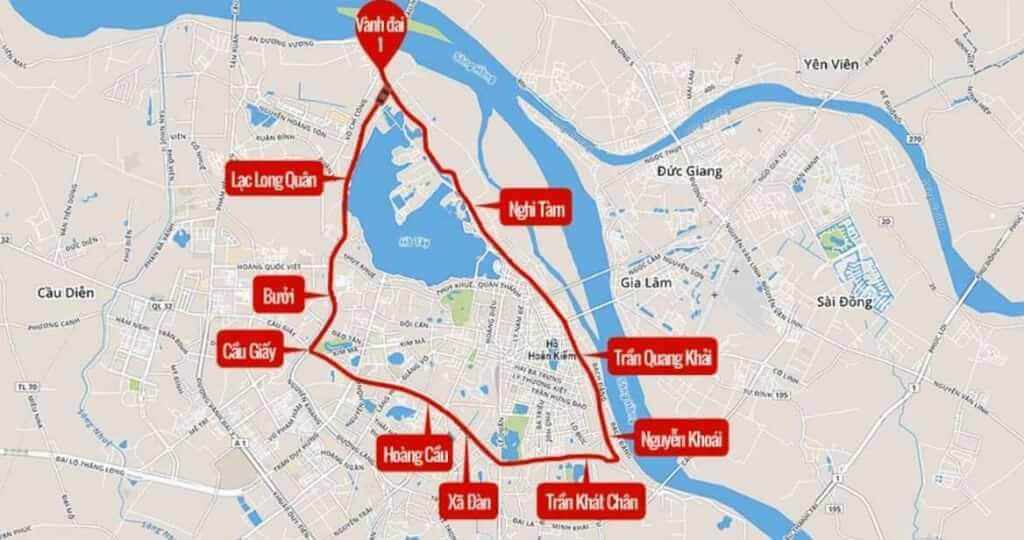 Bản đồ quy hoạch đường vành đai 1 tại Hà Nội mới nhất