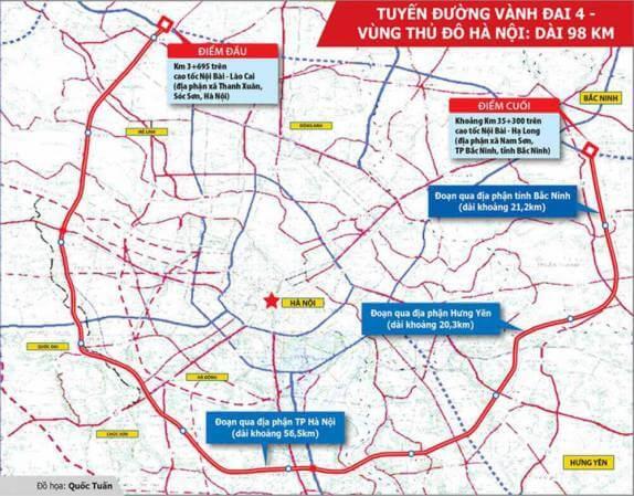 Bản đồ quy hoạch đường vành đai 4 tại Hà Nội mới nhất
