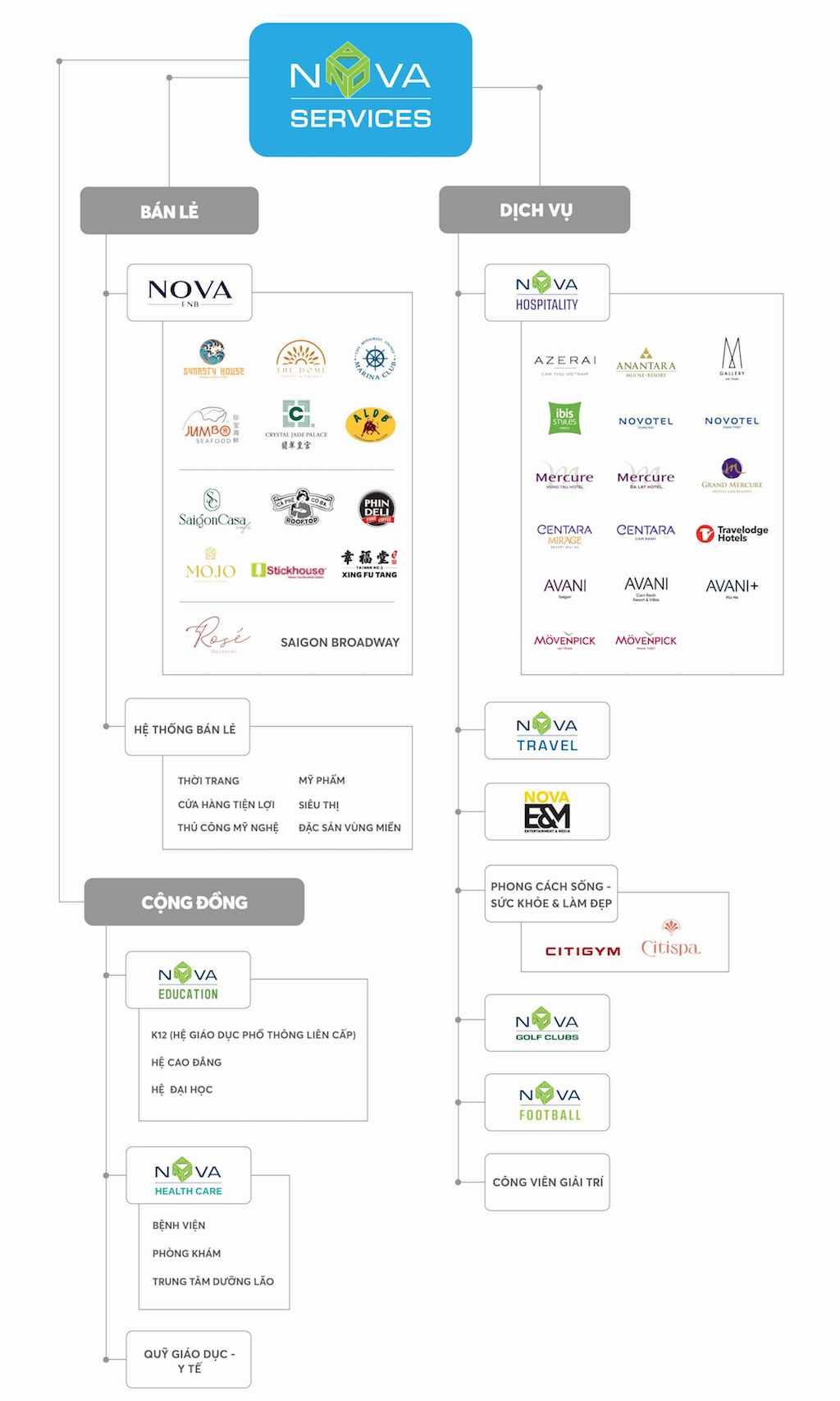 cấu trúc công ty tập đoàn Nova Service