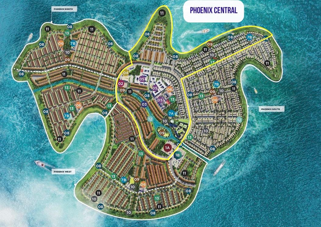Vị trí phân khu Phoenix Central Aqua City